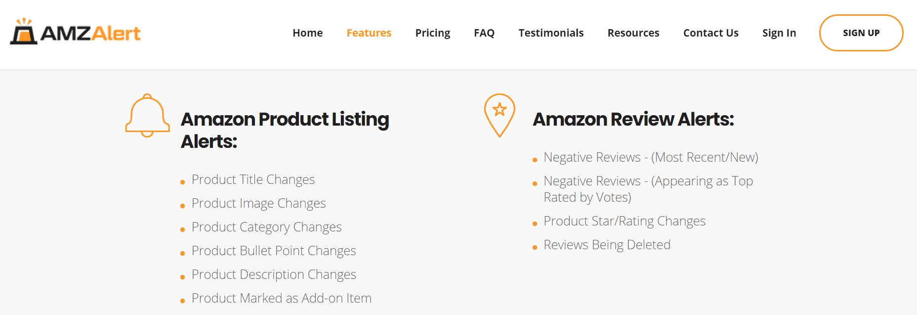 amz alert review- features