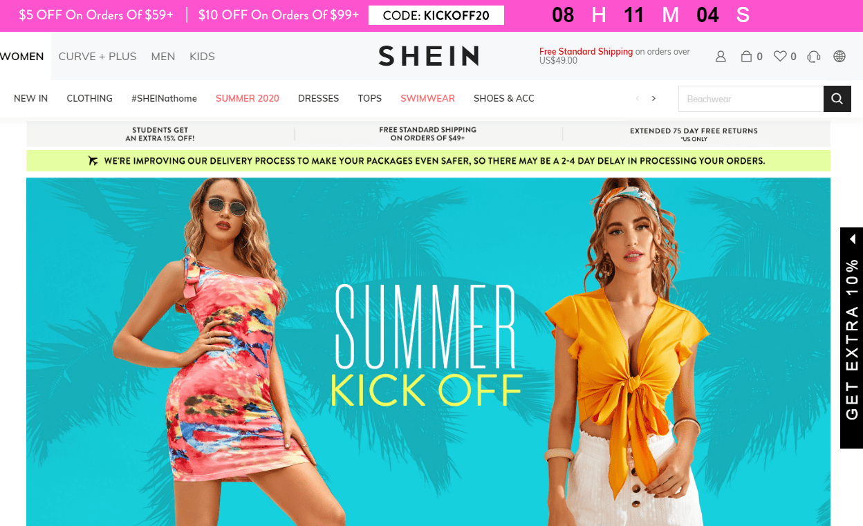 Shein Coupon - $10 Off On Order of $99+