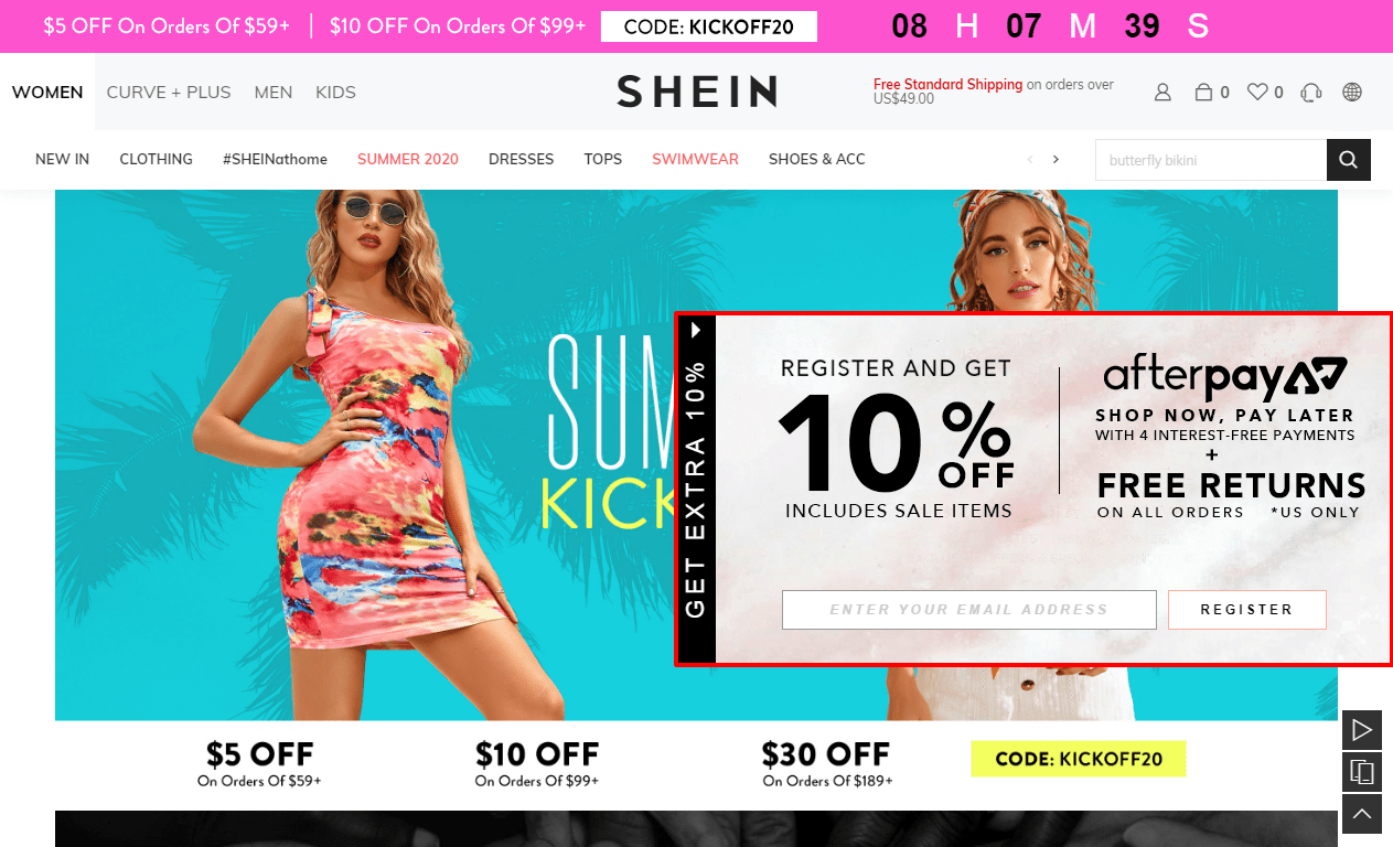Shien Coupon Code - $5 Off On order Of $59+
