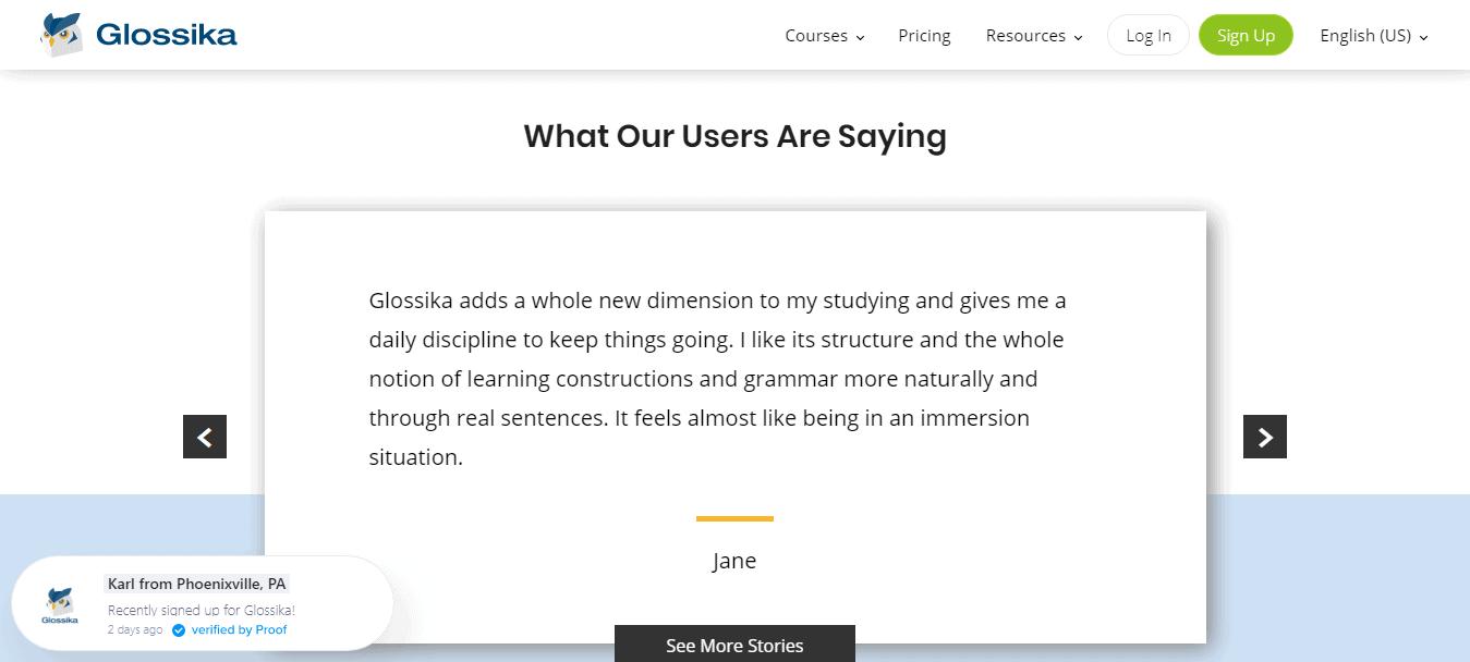 Glossika Customer Reviews