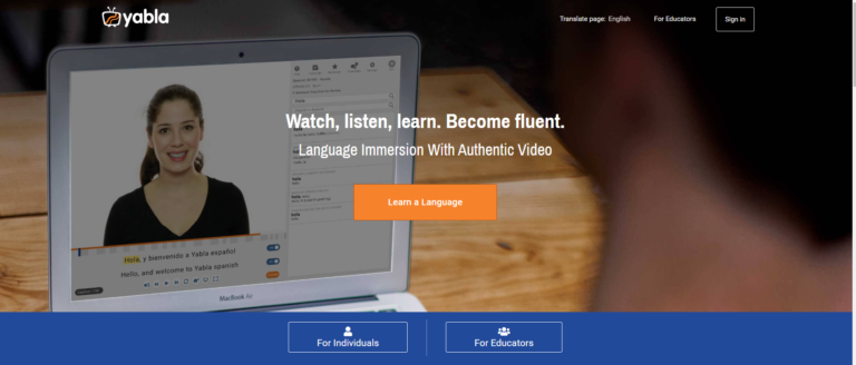 Yabla Review homepage