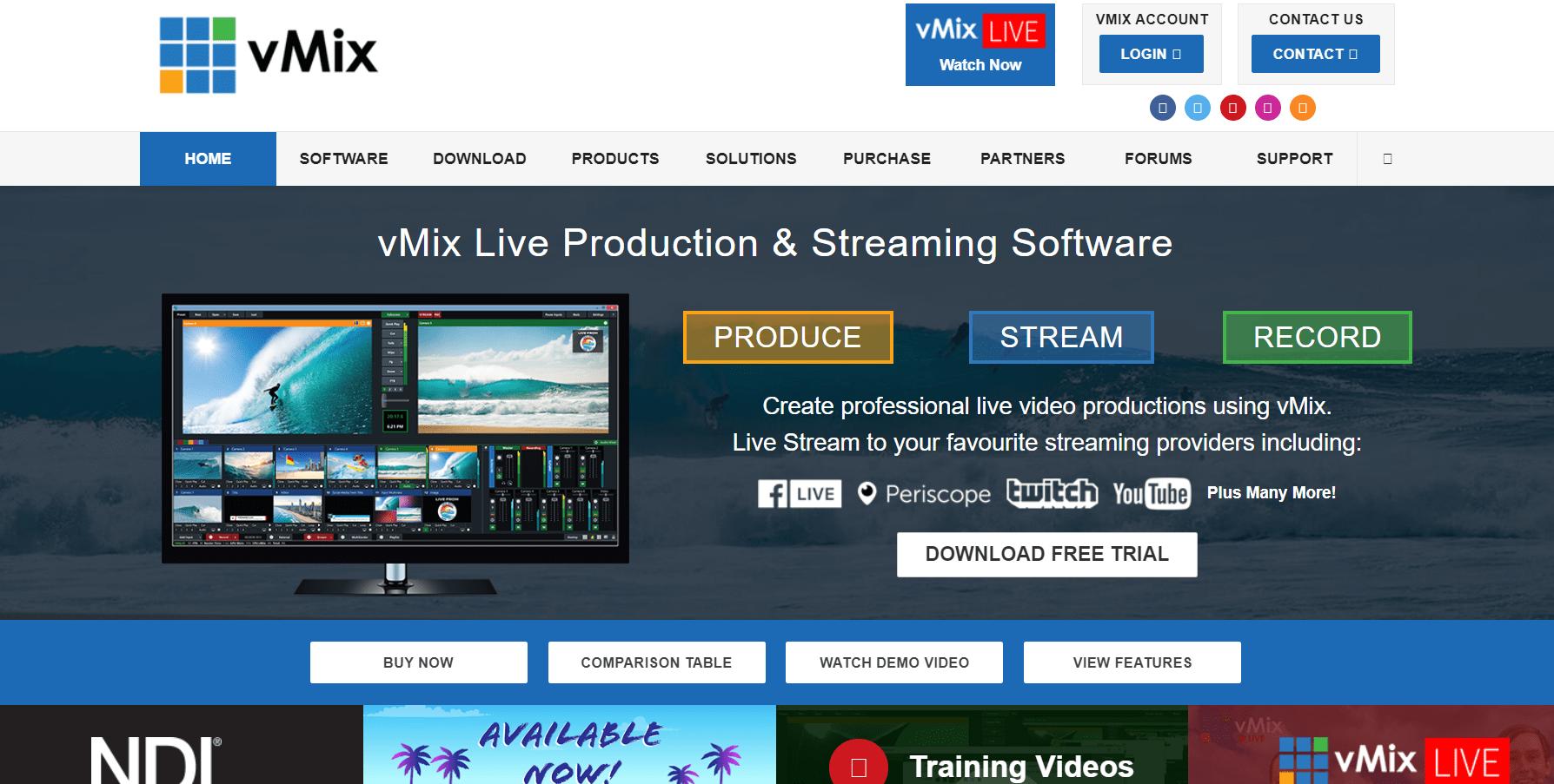 vMix Software view