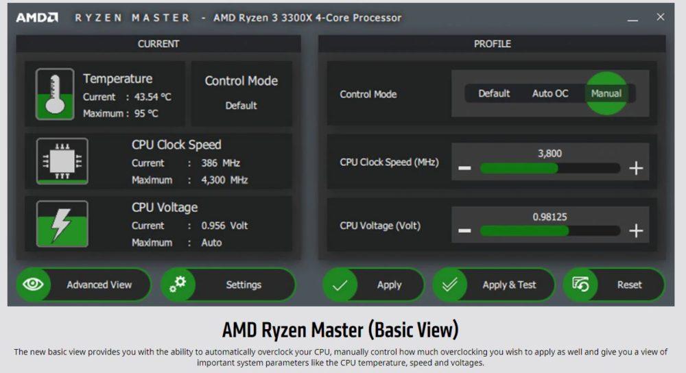 AMD Ryzen Master Basic View