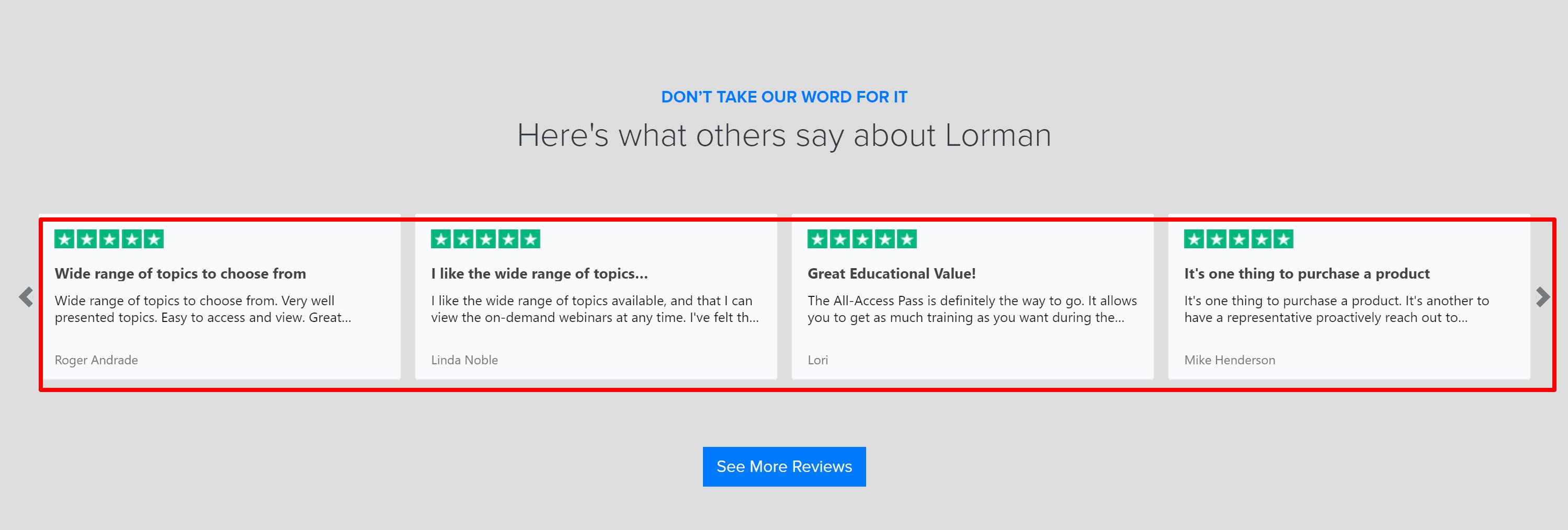 Lorman customer reviews and testimonials