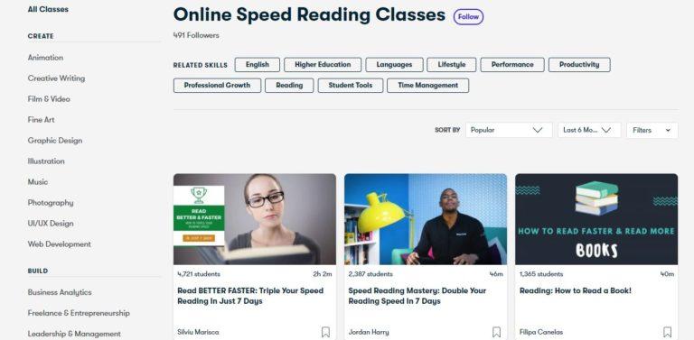 Skillshare Speed Reading Courses