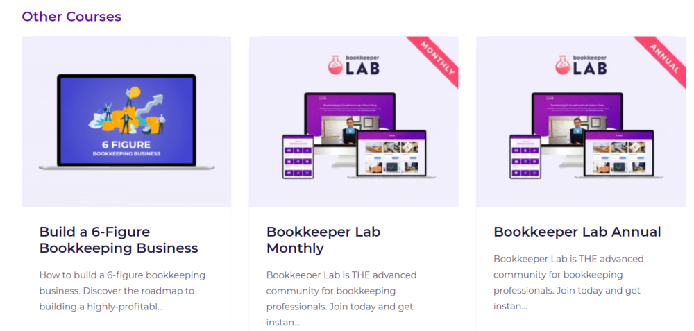 Other Courses at Bookkeeper Business Launch Review