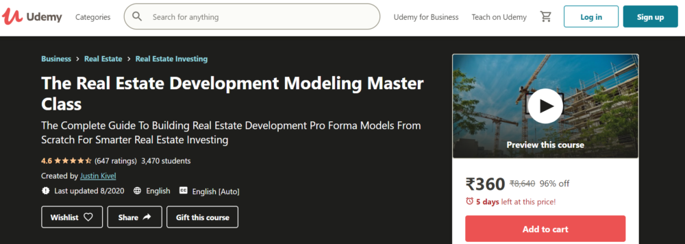 Real Estate Development Modeling Master Class