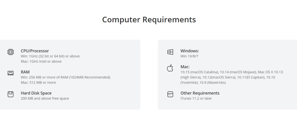Computer Requirements for iMyFone