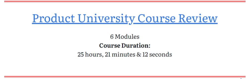 Product university course