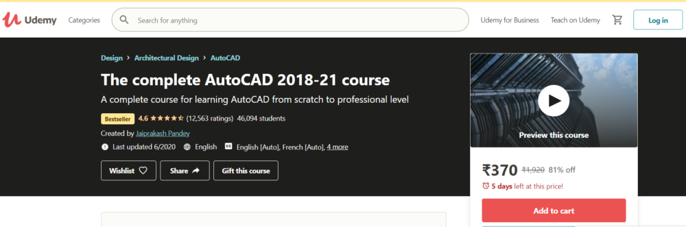 The Complete AutoCAD 2018-2020 Course by Udemy