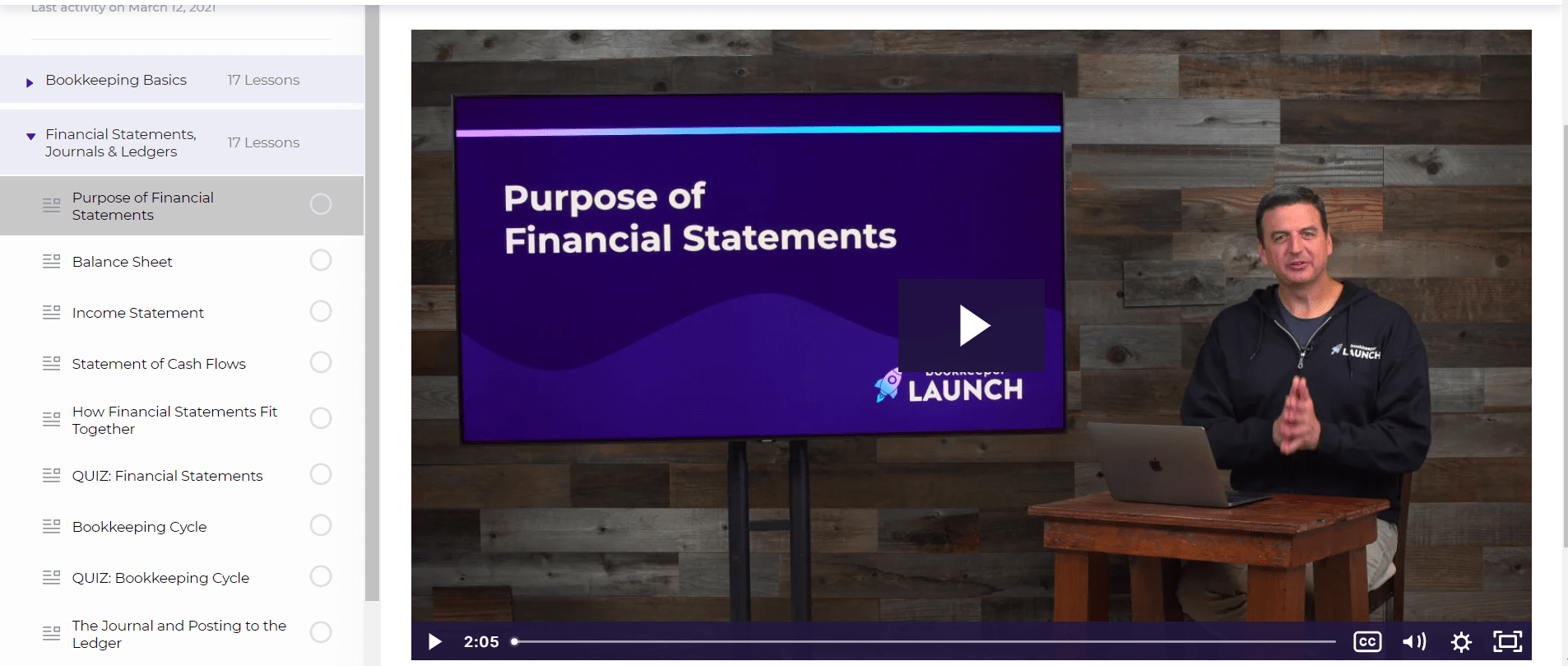 Bookkeeper Launch Financial Statements