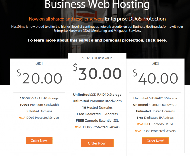 HostDime Coupons-plans & pricing