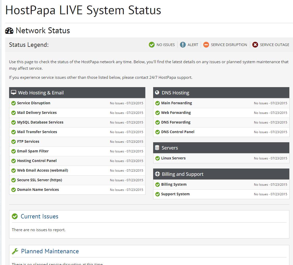 Hostpapa Coupons - System Status