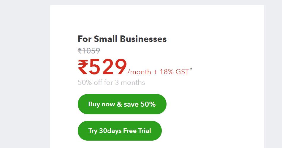 Intuit QuickBooks Pricing