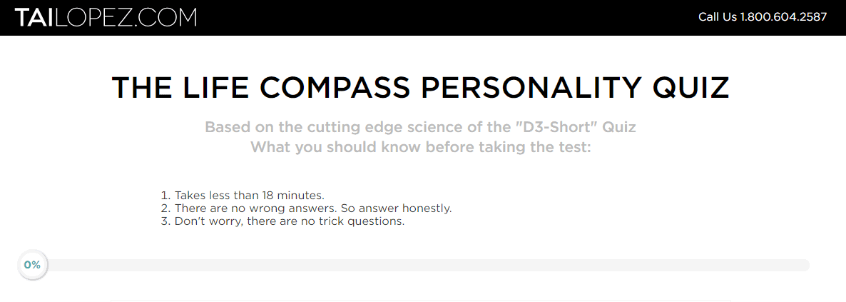 tai lopez personality test- life compass test