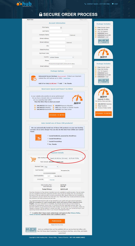Web Hosting Hub-Order Process