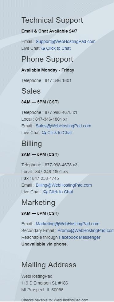 WebHostingPad Promo-Customer Support