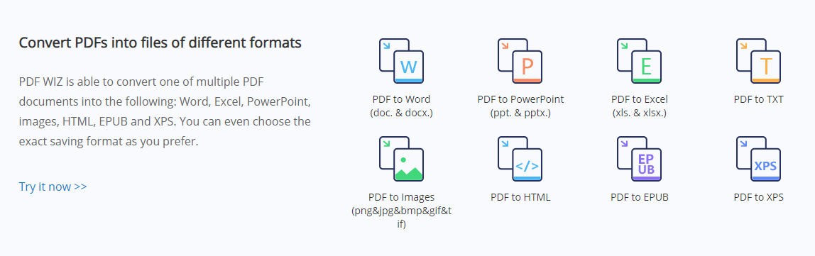 convert pdf to files of different formats