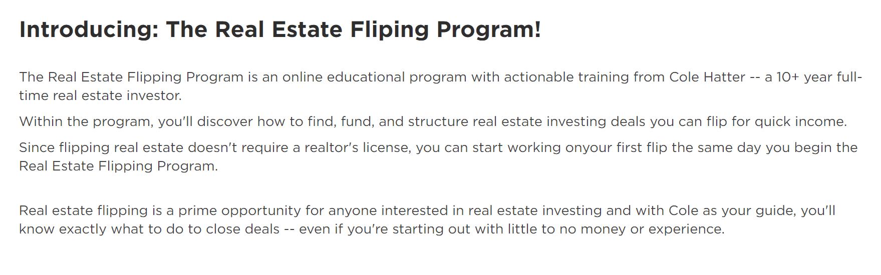 real estate flipping program