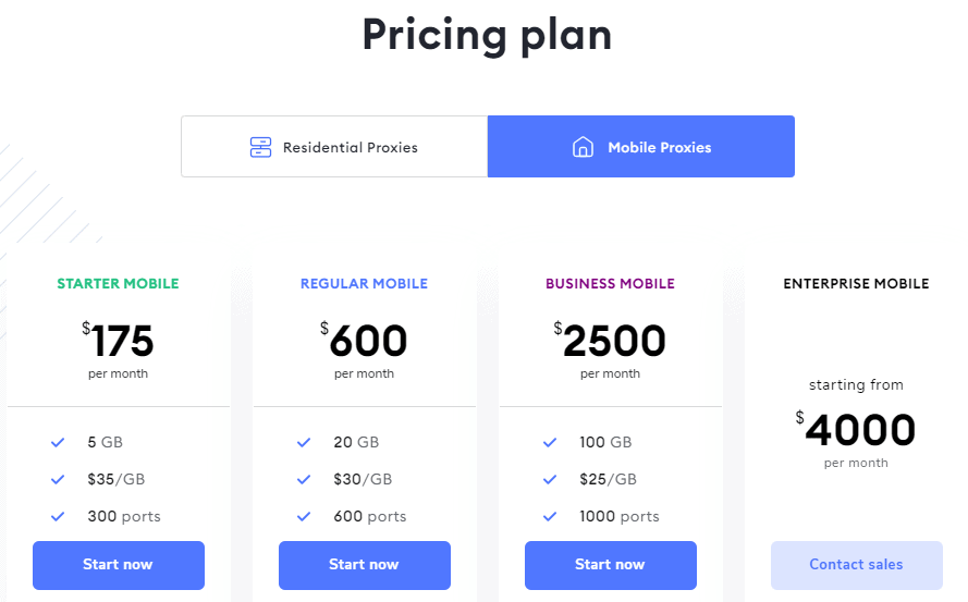 soax mobile proxies pricing plan
