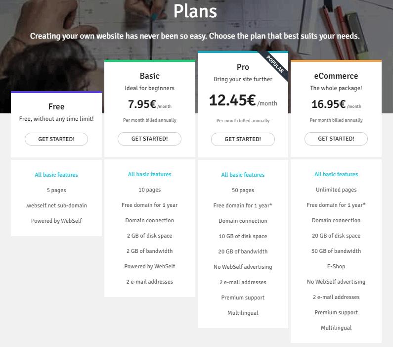 WebSelf Pricing Plans