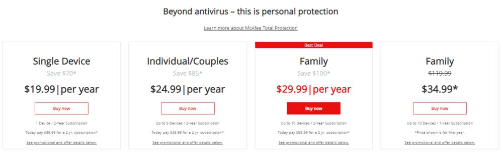 McAfee Antivirus Plus - Prizing plans