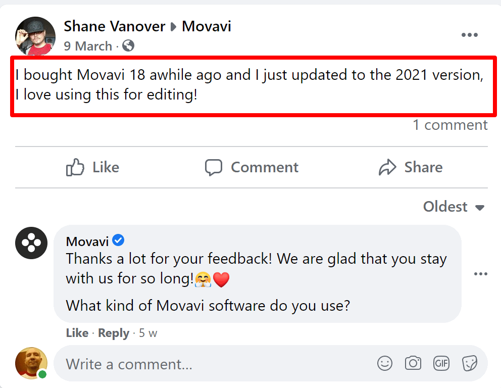 Movavi review on Facebook