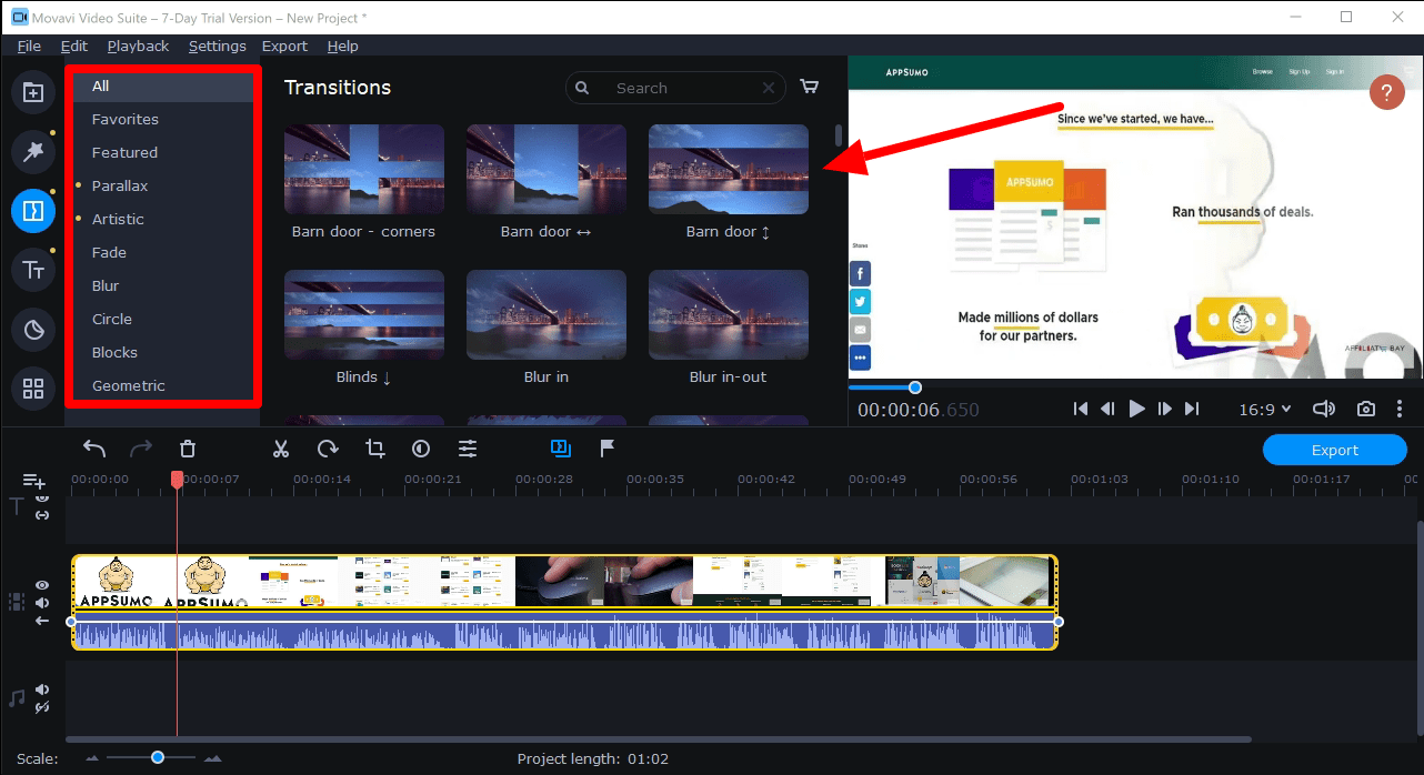 Movavi transitions effects- movavi video editor plus review