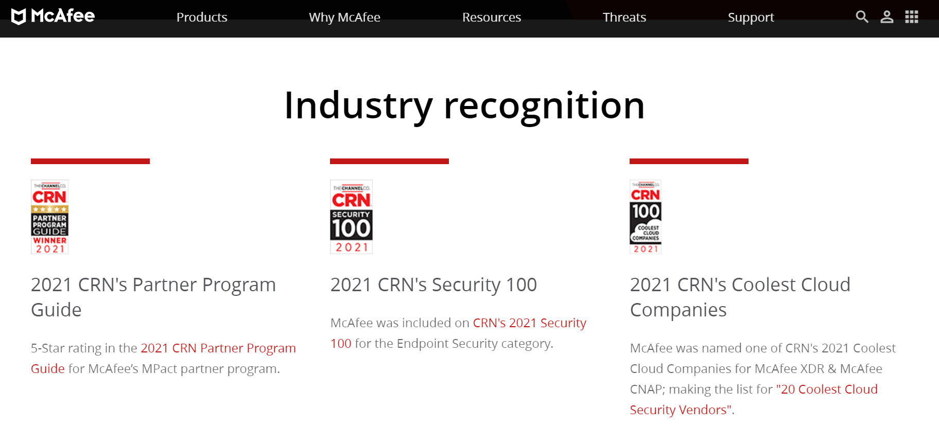 mcafee coupon codes- industry recognition