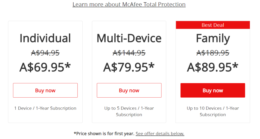 McAfee Antivirus Pricing