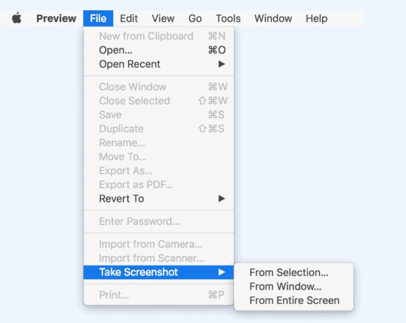 Take Screenshots on Mac Through preview