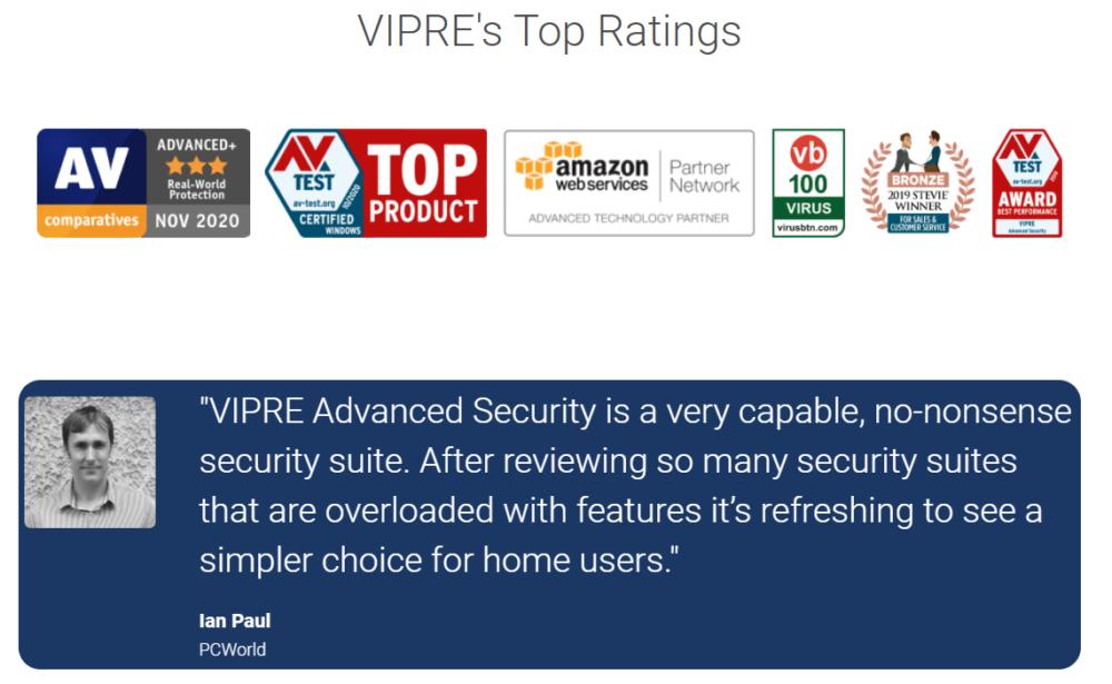 Vipre Antivirus top rating