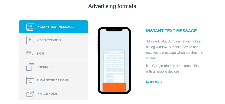 Clickadu- Advertising formats