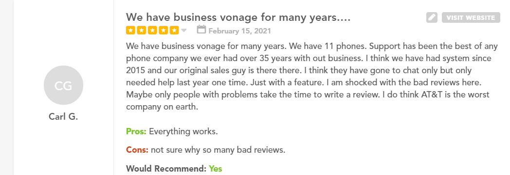 vonage user review