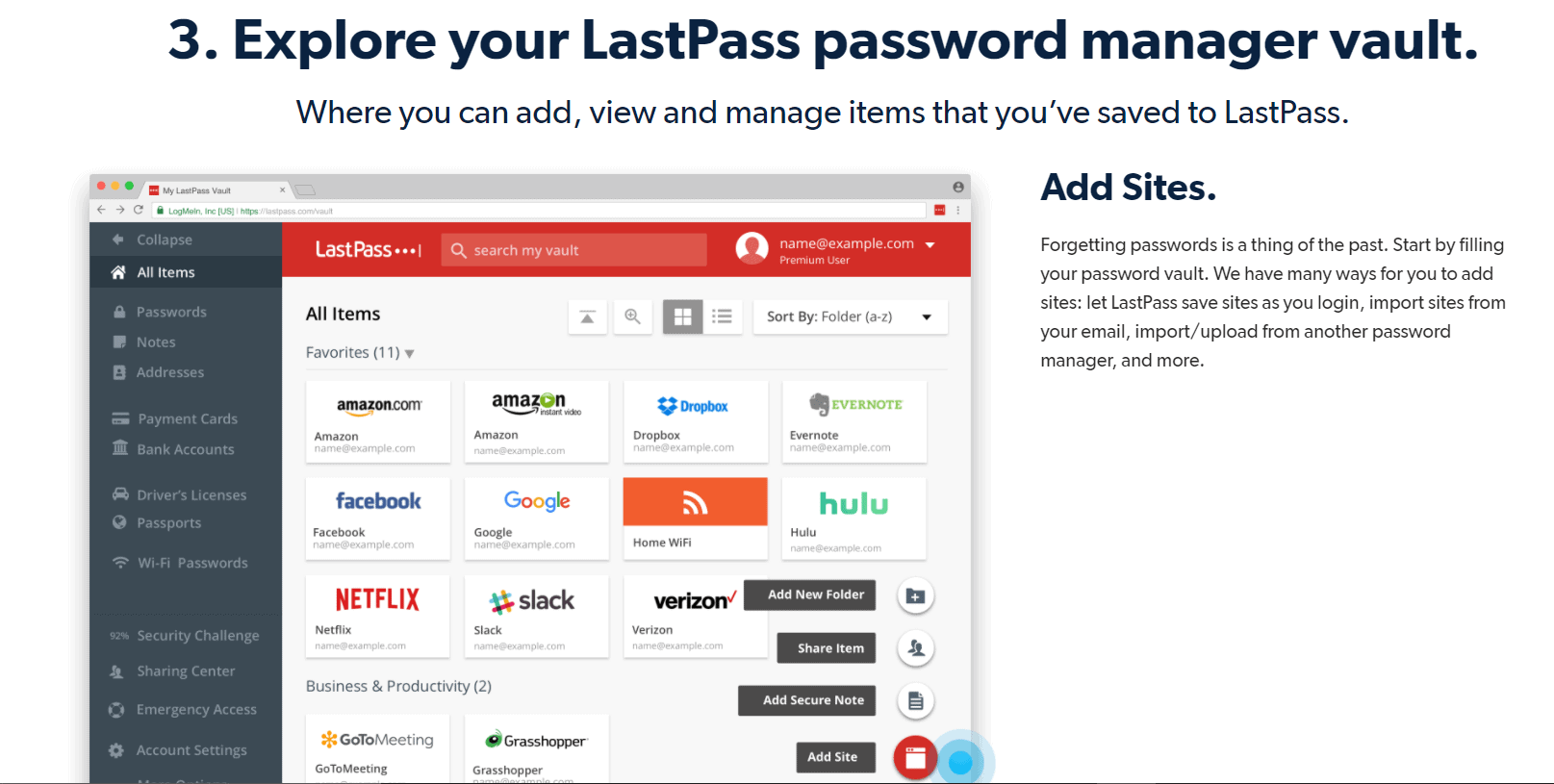 Explore your LastPass password manager vault