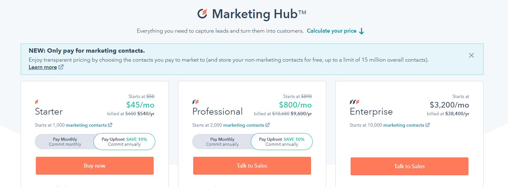 HUBSPOT pricing
