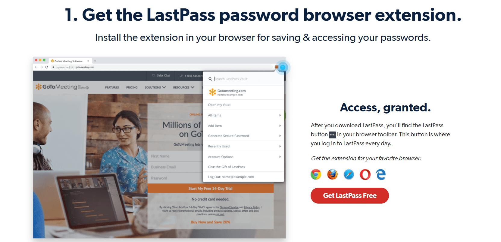 LastPass password browser extension