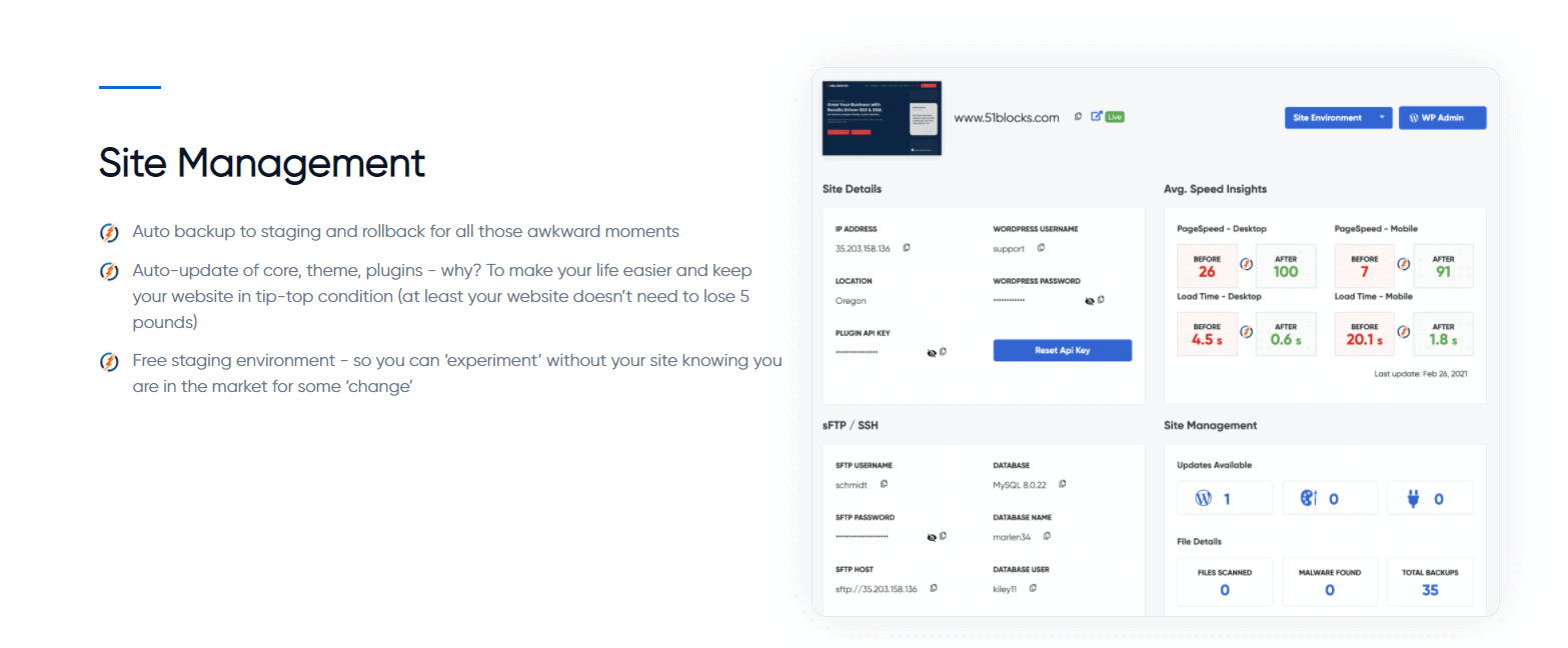 Site Management Features