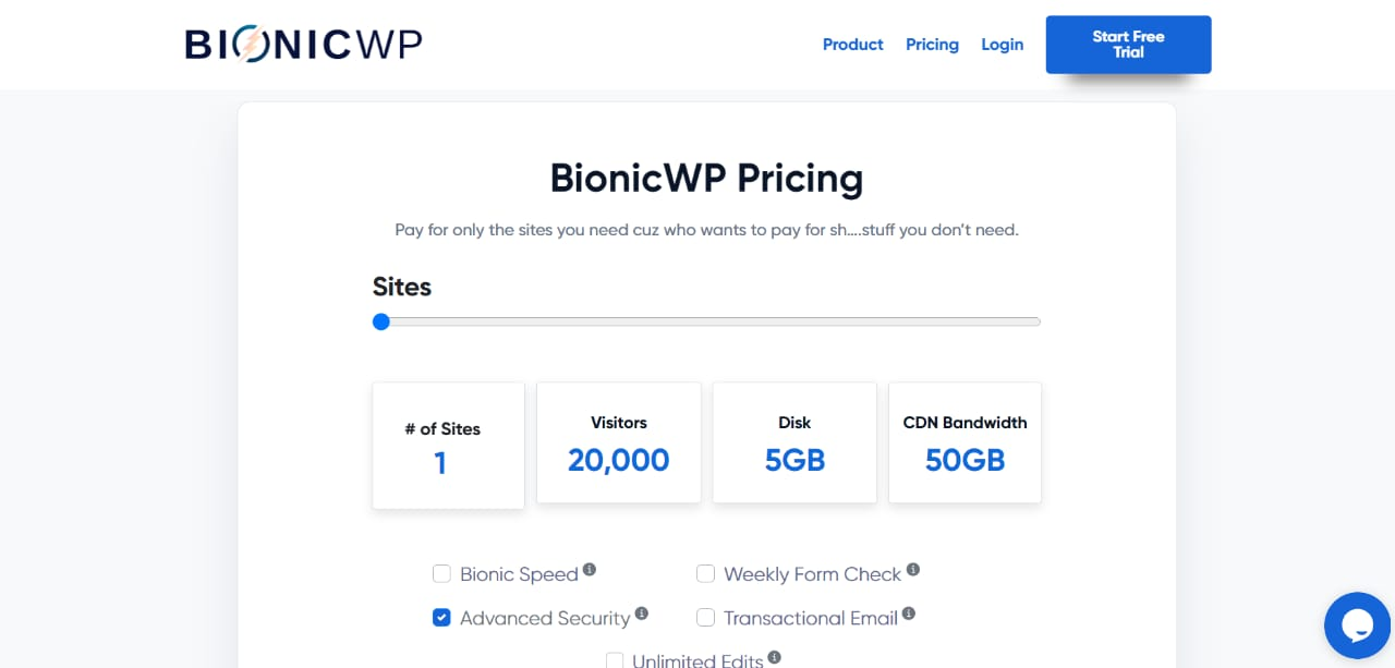 Pricing of BionicWP