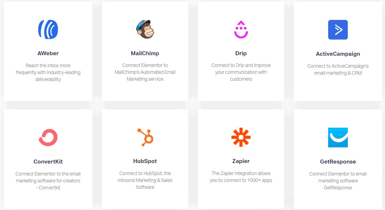 Elementor Review - Integrations