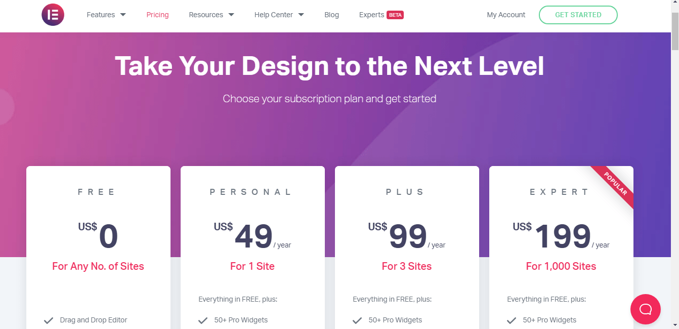 The-pricing-plan-of-Elementor-pro