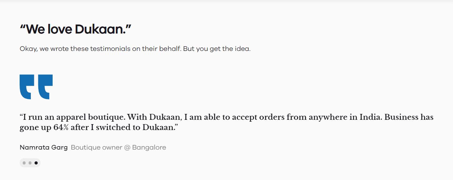 customer review- dukaan