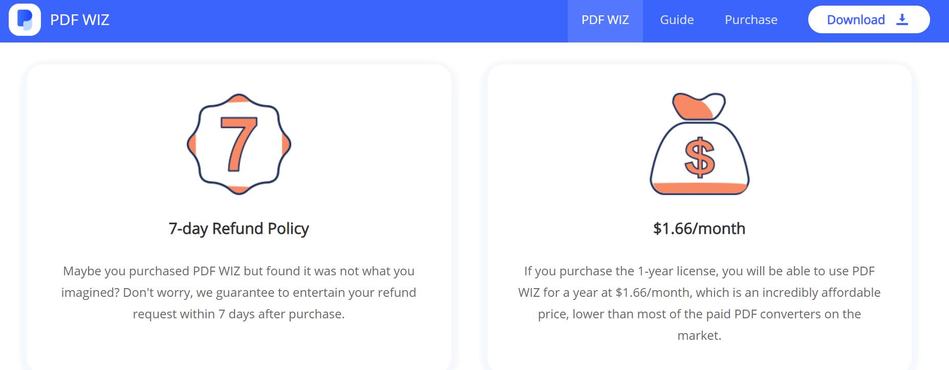 pdf wiz 7 day refund